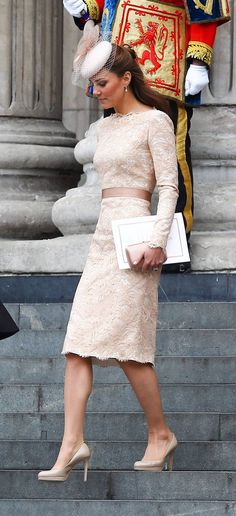 Catherine, Duchess of Cambridge, aka Kate Middleton leaving the Queen's Diamond Jubilee thanksgiving service