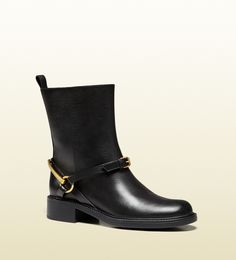 Gucci tess leather horsebit ankle boot