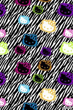 zebra print hello kitty   Hello Kitty: zebra iPhone Wallpaper
