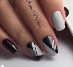 Black Nail Designs, Nail Art Designs, Hot Nails, Hair And Nails, Nail Polish Style, Line Nail Art, Geometric Nail Art, Nagellack Trends, Bride Nails