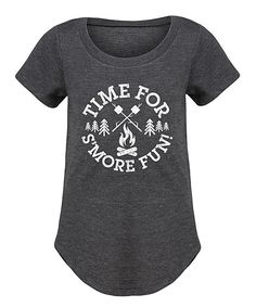 Heather Charcoal 'Time For S'more Fun' Curved-Hem Tee - Girls