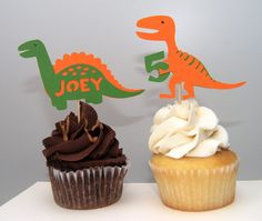Dinosaur Cupcake Toppers by BsquaredDesign on Etsy, $10.00