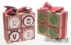 Blocks of Christmas Cheer and Love | Tiny Treat boxes and Trim the Tree DSP make this double sided decorative treat box.  This project also features the Little Letters Framelit