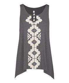 Look at this #zulilyfind! Dex Medium Gray & Ivory Tribal-Embroidered Sleeveless Top by Dex #zulilyfinds