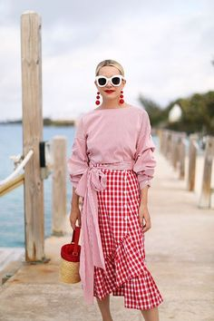 stripes on gingham in red and white