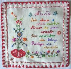 To mom. Portuguese embroidery traditional design.