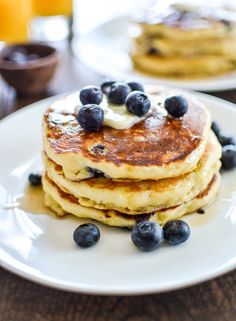 Blueberry Cornmeal Pancakes: a fun spin on a breakfast classic that has a little more texture and a lot more flavor