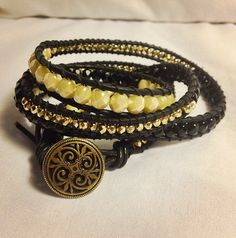 Chic Pearl Back and Gold Leather Wrap Bracelet on Etsy, $55.00