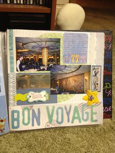 A page from our 2004 Walt Disney World cruise scrapbook, showcasing one of the restaurants. Created in 2011 by CST. Includes a beaded-button flower, lace, cardstock borders, vellum saying, BoBunny borders, Creative Memories patterned cardstock, and washi tape. Original design.