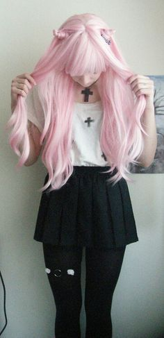 Perfect pastel pink hair kitty ear hairstyle with this casual school girl themed outfit.