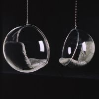 """Aarnio about Bubble Chair: """"After I had made the Ball Chair I wanted to have the light inside it and so I had the idea of a transparent ball where light comes from all directions. The only suitable material is acrylic which is heated and blown into shape like a soap bubble.  I had a steel ring made, the bubble was blown and cushions were added and the chair was done. And again the name was obvious: BUBBLE.""""   $5,691.72"""