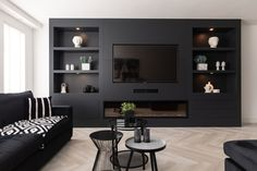 Living Room With Fireplace, New Living Room, Living Room Sets, Living Room Decor, Modern Tv Wall Units, Living Room Tv Unit Designs, Built In Furniture, Home Office Decor, Home Decor