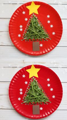 Paper plate and yarn Christmas tree craft for preschoolers, kindergartners and older kids. Easy holiday craft. Fine motor skills at best. #paperplatecraft #christmastree #christmastreecraft #Christmascraftforkids #christmascraftpreschool