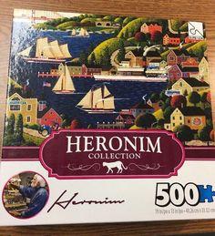 Heronim Collection Sausalito 500 Piece Jigsaw Puzzle Sailboats Bridge Cars #SureLox