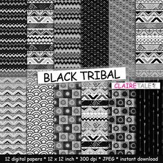 """Tribal digital paper: """"BLACK TRIBAL"""" with tribal patterns and tribal backgrounds, arrows, feathers, leaves, chevrons in black by ClaireTALE on Etsy"""