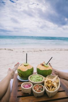summer | guac + salsa + chips + sippin' on coconut water