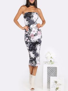 Sexy Women Tube Top Midi Dress Print Strapless Knee Length Casual Party Floral - Dresses