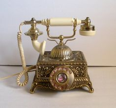 Imperial Telephone Rotary Brass Ornate Metal by CottageChicStyle, $94.00
