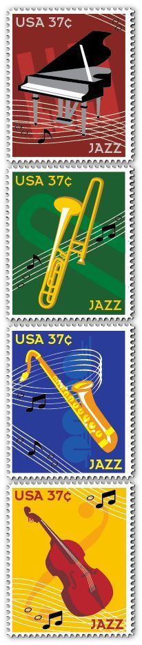 Collection of USA 37c postage stamps featuring instruments used for jazz music
