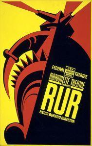 Cartel de la representación teatral de Nueva York de «R.U.R.» de Karel Capek, 1939
