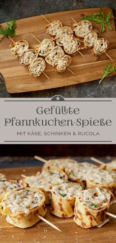Gefüllte Pfannkuchen-Spieße – Eine kleine Prise Anna Stuffed pancake skewers are deliciously filled rolls with ham, cheese and arugula. Savory snacks perfect as finger food. Cheese Appetizers, Finger Food Appetizers, Finger Foods, Appetizer Recipes, Snack Recipes, Breakfast Party, Birthday Breakfast, Savory Snacks, Healthy Snacks
