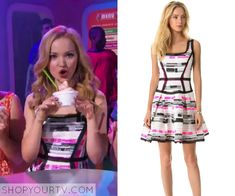 Liv Rooney (Dove Cameron) wears this patterned dress in this episode of Liv & Maddie. It is the Milly White Piper Party Dress. Sold out.