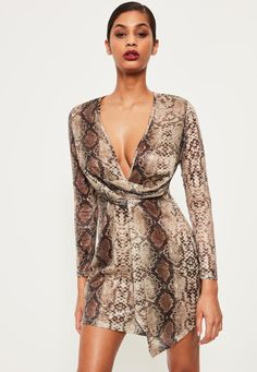 Missguided - Nude Snake Sequin Wrap Front Dress