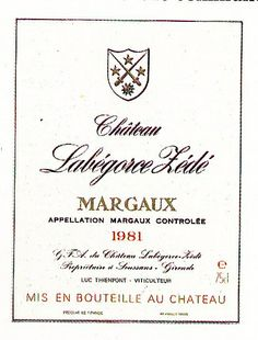 Chateau Margaux 1981 French Wine Label