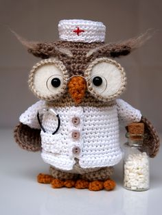 "I used basic pattern ""Owl Henriette"" with some modifications to get ""a doctor looking owl"".    I used white cotton on the body, started on row 18 of the body and finished on 29. On the ..."