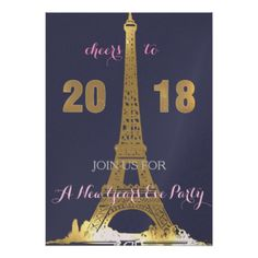 Golden Eiffel Tower- 2018 party Card - New Year's Eve happy new year designs party celebration Saint Sylvester's Day