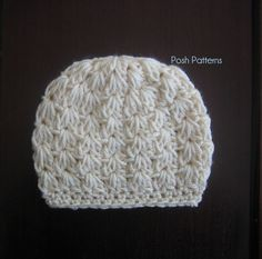 Free Crochet Baby Hat Patterns   Crochet Hat Pattern   Cluster V Stitch Beanie & Bow   Newborn to Adult by April Rodriguez Muir