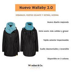 El abrigo de porteo y embarazo Wallaby se adapta al crecimiento de la tripa y al tamaño del bebé con la pieza desmontable y se puede utilizar como abrigo normal