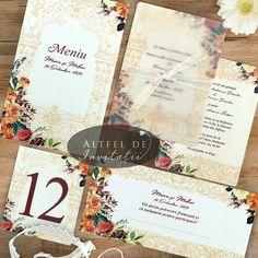 Invitatie de nunta, meniu, place card si numar de masa #altfeldeinvitatii Floral, Design, Flowers, Flower