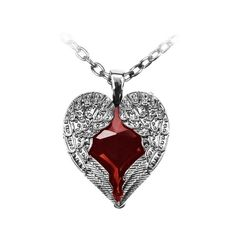 Poizen Industries Wings Heart Necklace (Red) ($10) ❤ liked on Polyvore featuring jewelry, necklaces, accessories, heart jewellery, heart shaped jewelry, poizen industries, red jewelry and red heart necklace