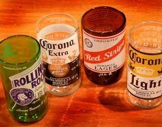 Beer Bottle Glasses - 5 Fun and Easy Recycled Glass Bottle Project anyone can do. http://www.bottle-lamp.com/diy-projects/5-fun-recycled-glass-bottle-projects/