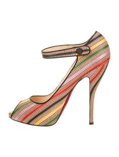 European Exclusive. Multicolor damas fabric Christian Louboutin peep toe Mary Jane pumps with snap button closure at ankle. Includes original box.
