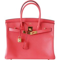 Pre-Owned Hermes Birkin 30  Rose Jaipur Epsom GHW (32,605 CAD) ❤ liked on Polyvore featuring rose jaipur