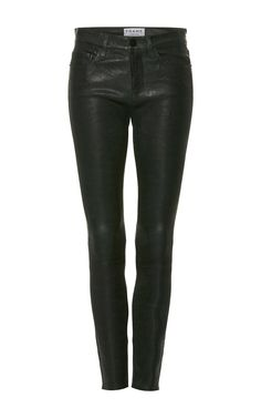 These **Frame Denim** pants offer up a feline rocker's edge for day or night with their second-skin fit and coated finish. Denim Pants, Leather Pants, Denim Fashion, Womens Fashion, Female Fashion, Sport Chic, Frame Denim, Lambskin Leather, Skinny Fit
