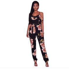 Coolred-Women Evening Club Halter Split Chest Wrapped Camo Jumpsuits