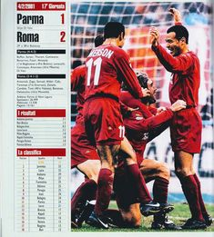 Parma 1 AS Roma 2 in Feb 2001 at Stadio Ennio Tardini. Action from a good away win for Roma in Serie A.