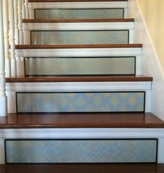 Fleur De Lis / Stair Riser / Alternative to Stair Decals and Painted Stair Risers, Painted Staircases, Decoration Baroque, Stair Stickers, San Francisco Houses, French Home Decor, Types Of Wood, Beautiful Homes, Sweet Home