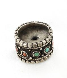Antique Tibetan Coral and Turquoise Sterling Centerpiece Bead