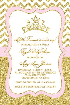 Baby shower invitation princess crown for girl by belleprintables princess baby shower invitation blush pink gold baby by honeyprint filmwisefo