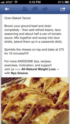 Baked tacos. Will have to try this one! :)