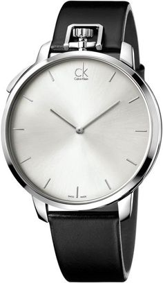 Calvin Klein Mens Swiss Exceptional Black Leather Strap Watch 48mm  in Black for Men