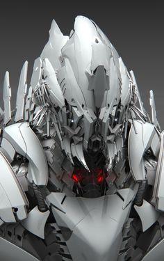 Alpha Ni 220 Front by Peter Bara. (via ArtStation - Alpha Ni 220 Front, Peter Bara) Rpg Cyberpunk, Cool Robots, Sci Fi Armor, Future Soldier, Robot Concept Art, Robot Design, Ex Machina, Mechanical Design, Conceptual Design