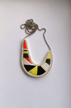 Asymmetrical crescent necklace embroidered pendant tribal summer fashion