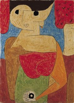 """Paul Klee 'Omphalo-Centric Lecture' 1939 (Omphalos is the Greek word for navel,which is what the figure is holding) From the Jena Lecture of 1924 """"It is the artist's mission to penetrate as far as may be toward that secret place where primeval power nurtures all evolution...in the womb of nature in the primal ground of creation where the secret key to all things lies hidden"""""""