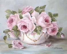 PRINT ON PAPER - Bowl of Roses - FREE POSTAGE WORLD WIDE