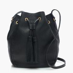 "Your schlep just became a cinch. This bucket bag is crafted in soft pebbled leather for a textured look and feel—we finished it with details we love, like an adjustable crossbody strap, swishy tassels and an easy drawcord closure. <ul><li>11 3/4""H x 8 1/4""W x 6""D.</li><li>22"" handle drop.</li><li>Adjustable strap.</li><li>Leather.</li><li>Import.</li></ul>"